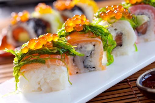Fresh maki sushi with salmon