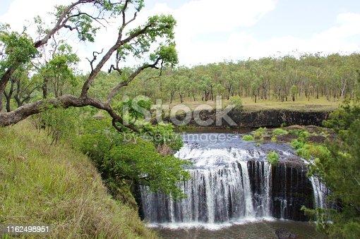 Big Millstream Falls, plunges over a basalt lava flow, in the Millstream Falls National Park, Ravenshoe, Atherton Tablelands, Australia