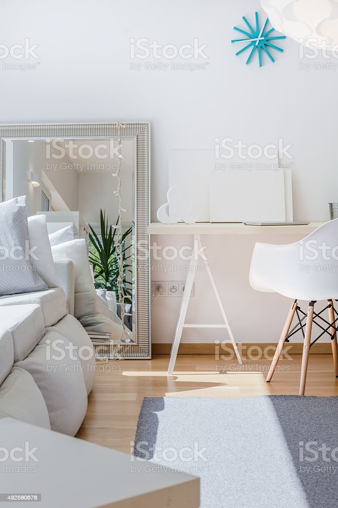Big mirror in room stock photo