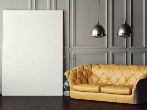 istock Big mock up poster, leather sofa 534671456