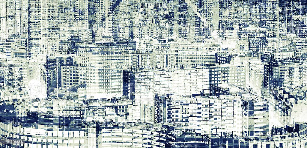 Big modern city, abstract double exposure stock photo
