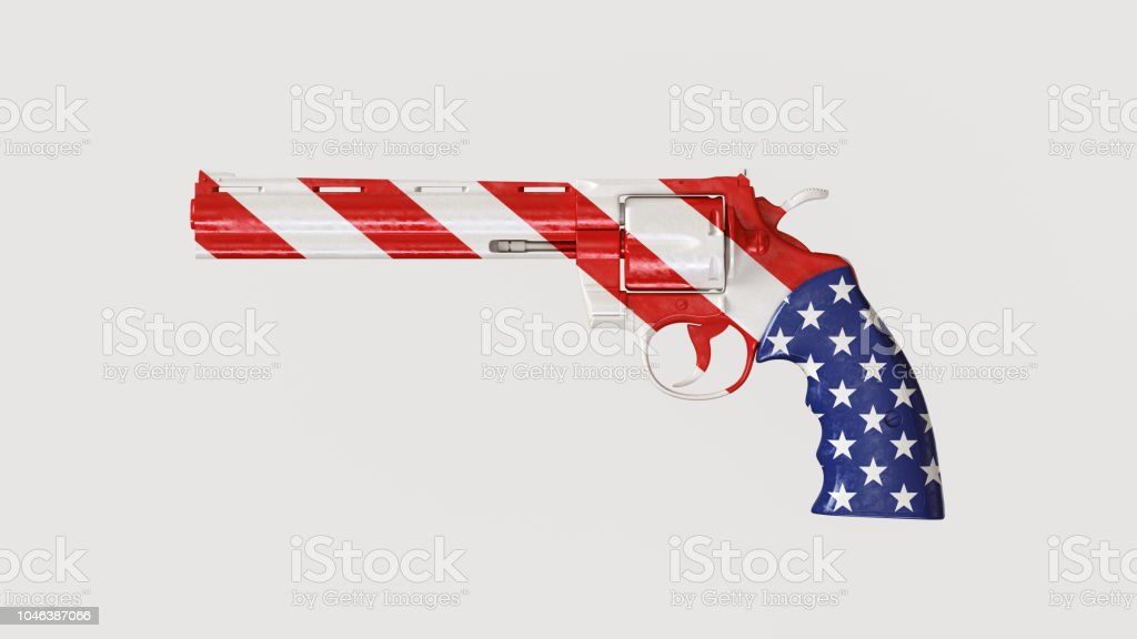 Big Modern Revolver with USA Flag Painted On stock photo