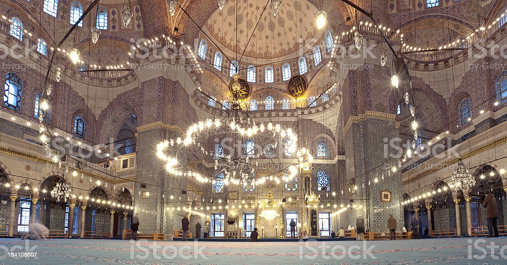 Big Mosque and Praying muslims. royalty-free stock photo