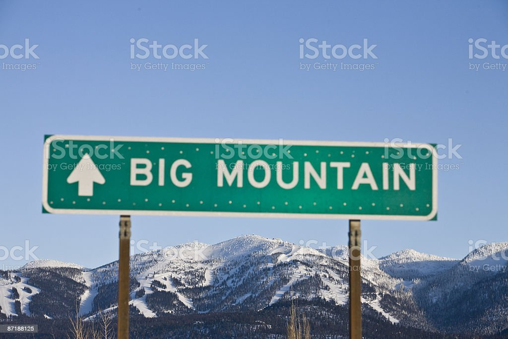 Big Mountain and a Big Mountain sign. royalty-free stock photo