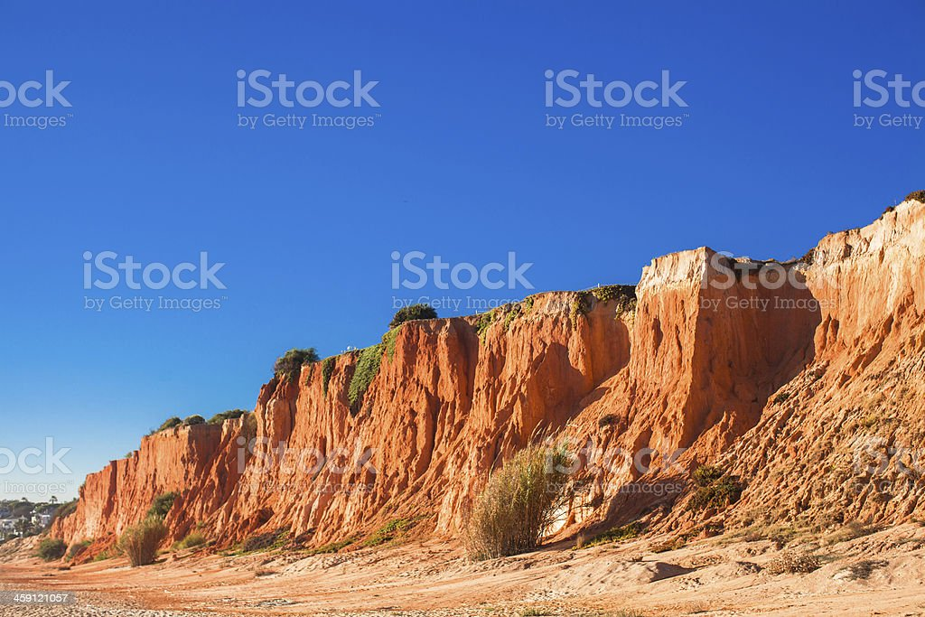 Big Mountain on the sand beach in Portugal stock photo