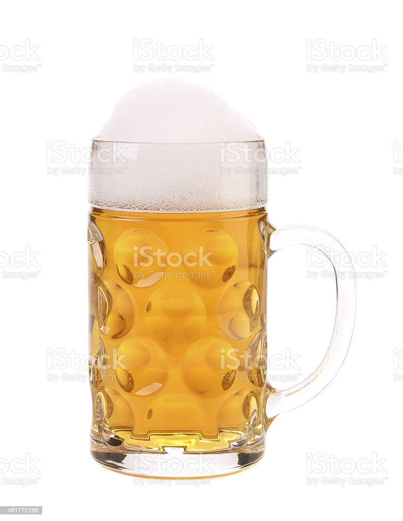 Big mug with gold beer. stock photo