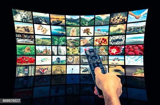 1032516726 istock photo Big multimedia broadcast video wall with remote control 656929322