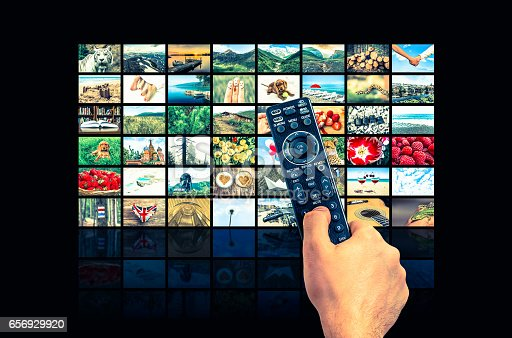 1032516726 istock photo Big multimedia broadcast video wall with remote control 656929920