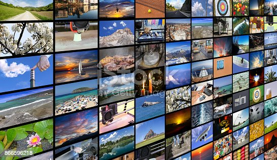 istock Big multimedia video and image wall of the TV screen 866596218