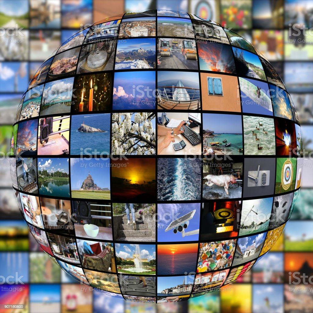 Big Multimedia Video Wall Sphere At Tv Screens Showing Living In The World  Stock Photo - Download Image Now