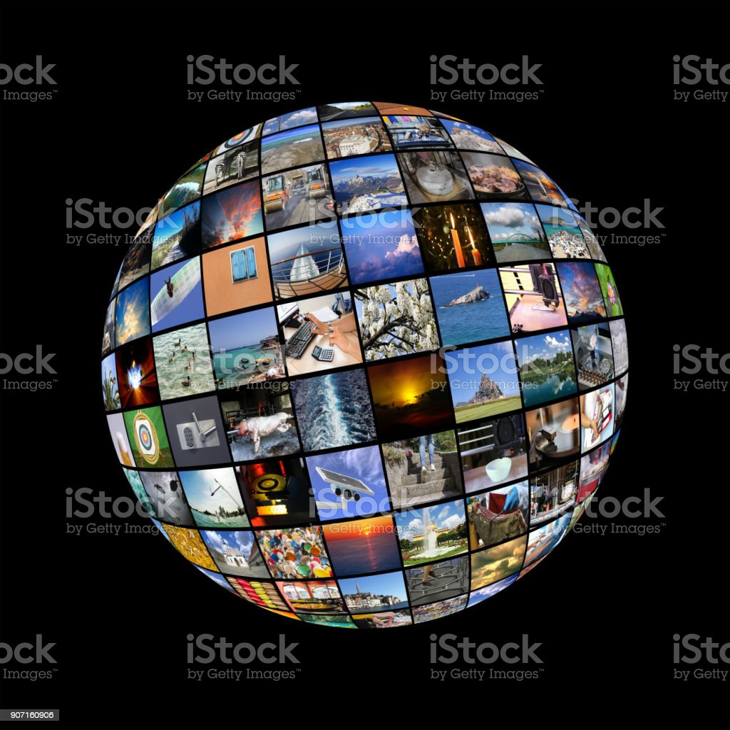 Big Multimedia Video Wall Sphere At Tv Screens Showing