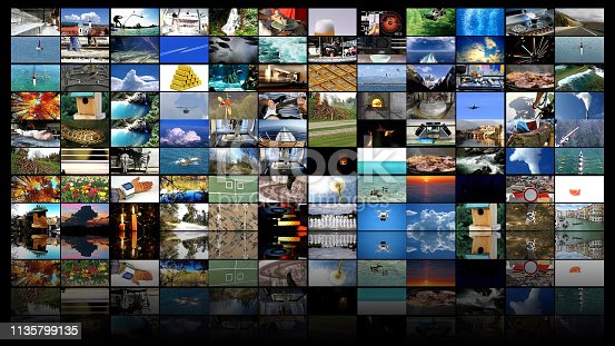 istock Big multimedia video wall widescreen Web streaming media TV 1135799135