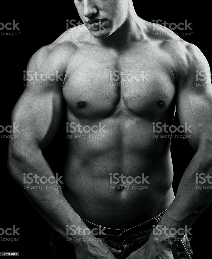 Big muscular sexy man with powerful body royalty-free stock photo