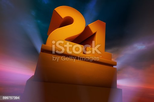 Golden number Twenty-One as a Three Dimensional Rendering with spotlights and dramatic sky