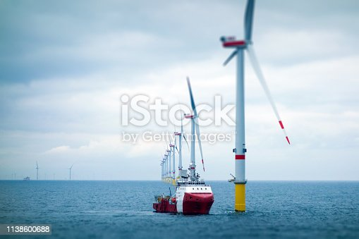 Wind-turbine, offshore, worker, boat, sea, sun, vessel