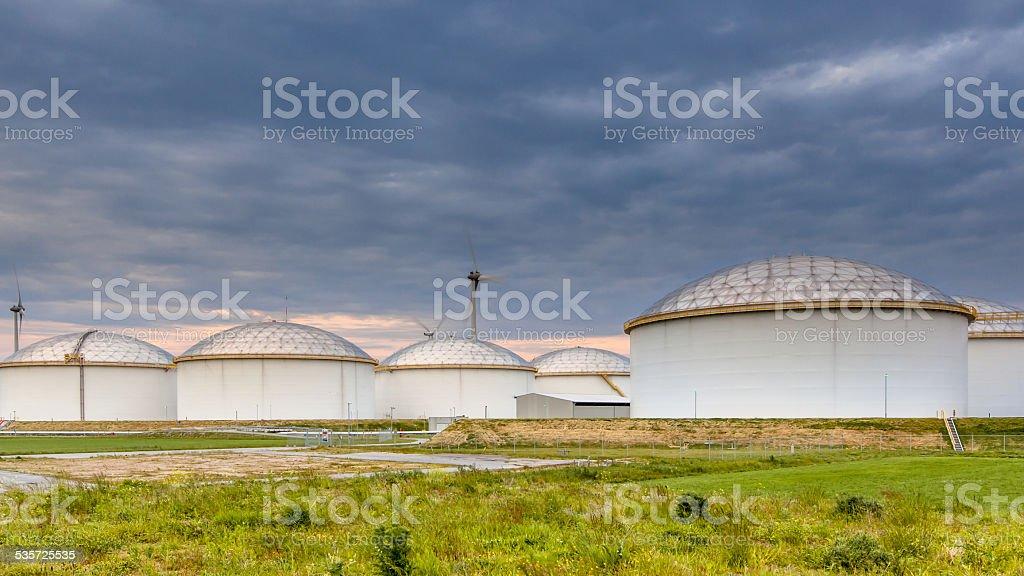 big oil tank terminal stock photo
