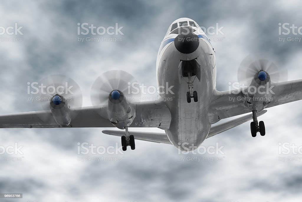 Big old propeller airplane royalty-free stock photo