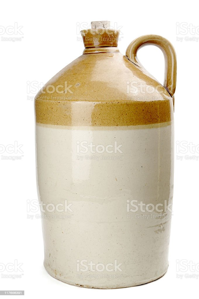 Big Old Stoneware Flagon Isolated On White royalty-free stock photo