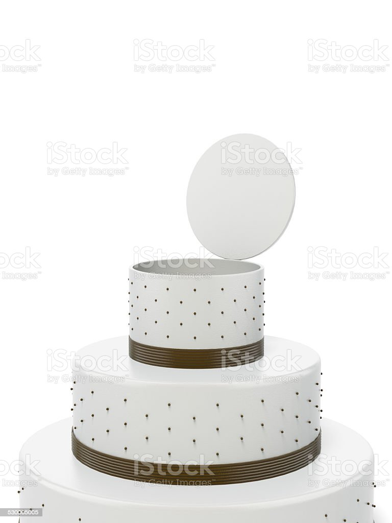 Big opened cake with surprise stock photo