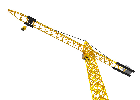 Big orange crane isolated on the white. Bottom view.