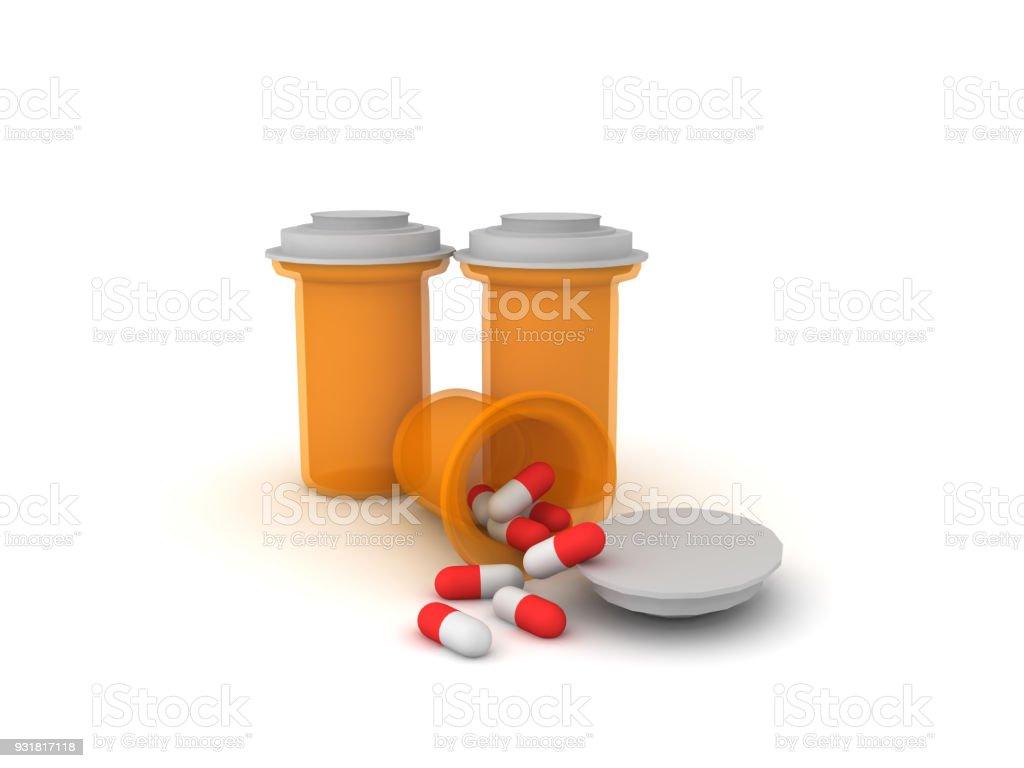 3D big orange pharmaceutical pill bottles stock photo