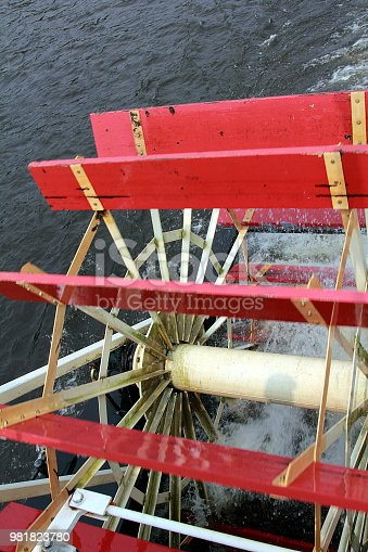 The Big Paddle Wheel From a Steamboat Propelling the Boat over the Water