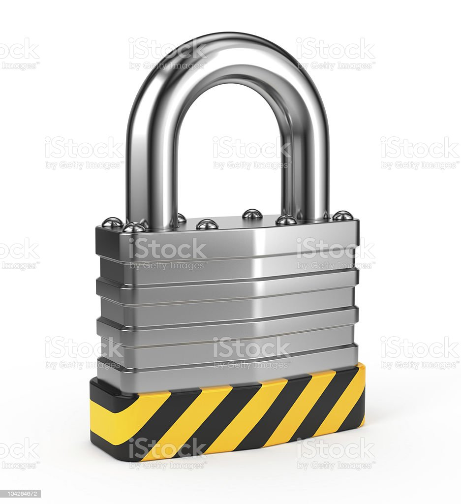A big padlock with hazard lines in black and yellow stock photo