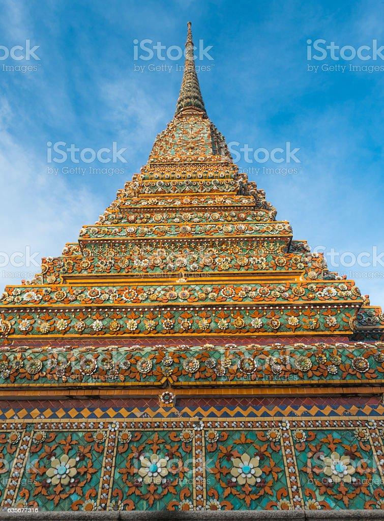 Big pagoda and thai art architecture in Wat Phra Chetupon stock photo