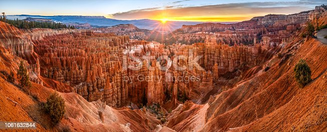 Panoramic view of Hoodoos in Bryce Canyon National Park at sunrise from between sunset point and inspiration point. Utah. United States of America