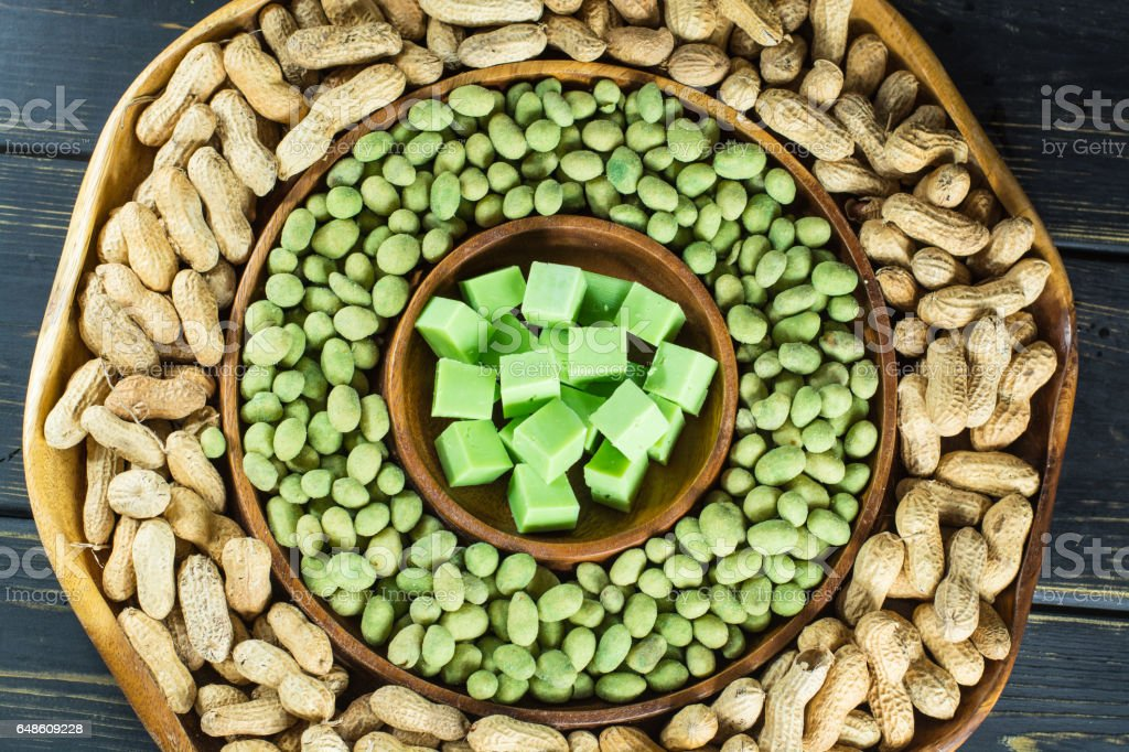 Big party green wasabi peanuts and cheese mix in oriental style stock photo