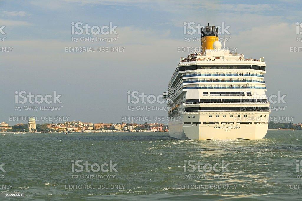 Big Passenger Ship in the Venetian Lagoon. stock photo