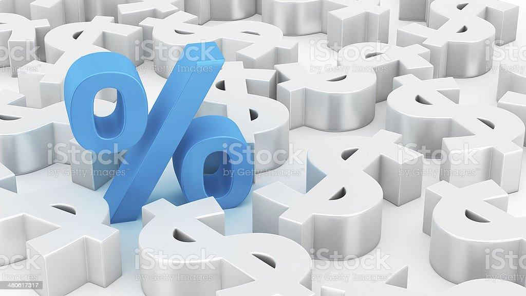 Big percent of dollars stock photo