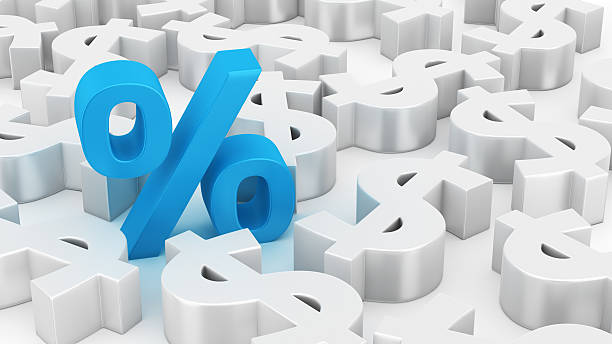 big percent of dollars - interest rate stock photos and pictures