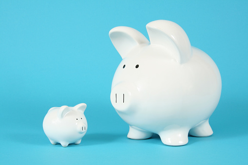 A Big Piggy Bank And A Smaller One 照片檔及更多 Bringing Home The Bacon - 英文諺語 照片