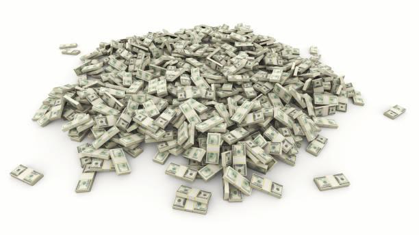 Großer Haufen amerikanischer Dollar auf weißem Grund. – Foto