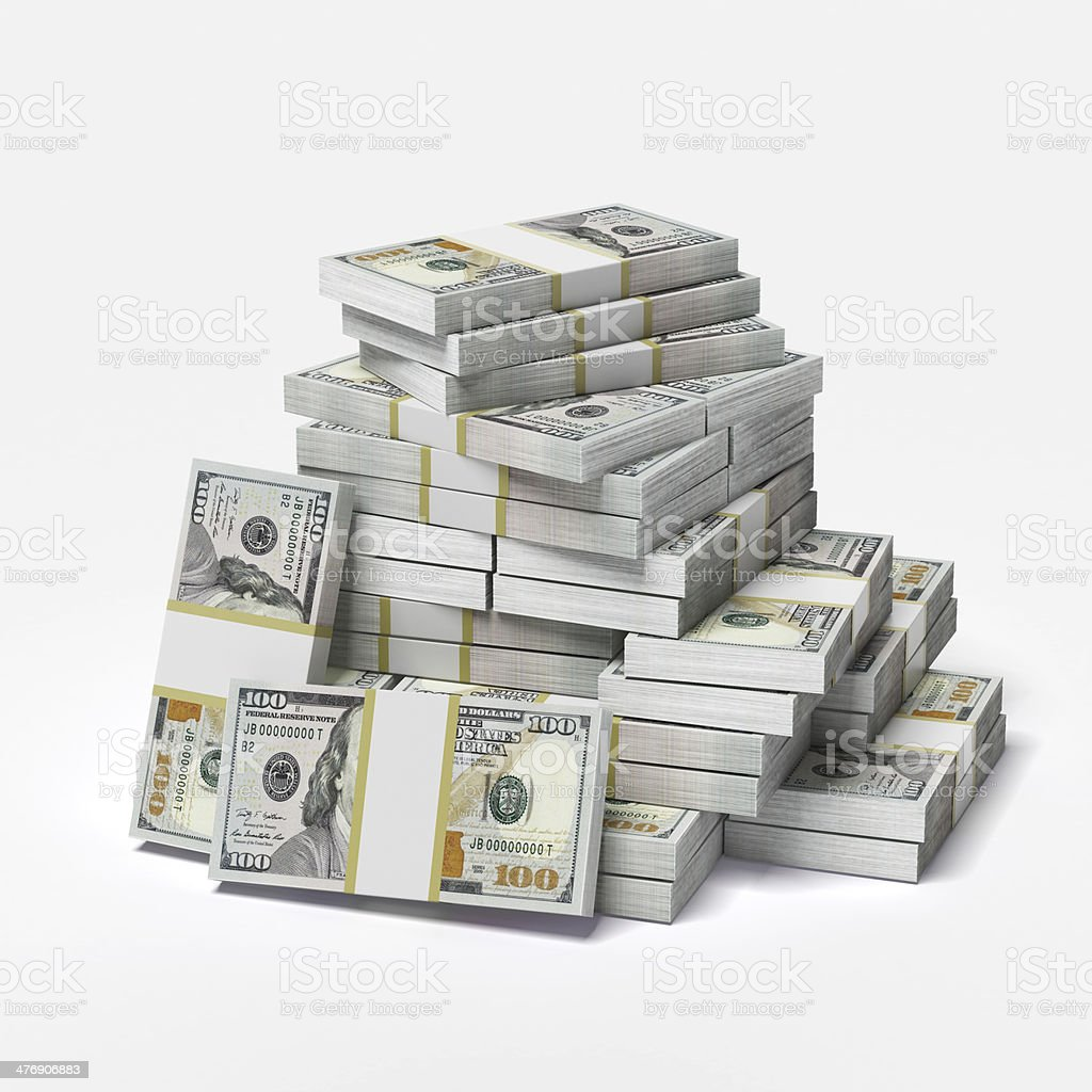 big pile of dollars stock photo