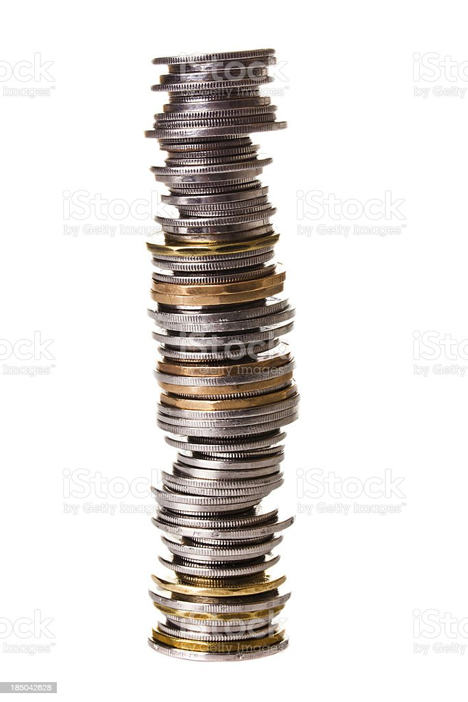 Big pile of little coins stock photo