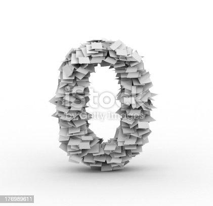 845307368 istock photo Big pile of paper number 0 symbol 176989611