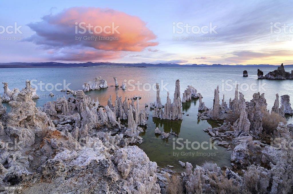 Big pink cloud above tufas on Mono Lake, California, USA stock photo