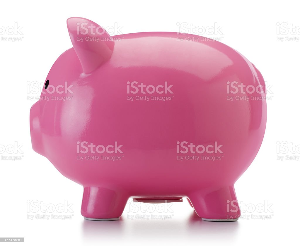 Big Pink Piggy Bank Isolated on White royalty-free stock photo