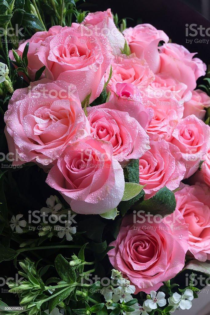 Big Pink Rose Flower Bouquet Wedding Rose Bouquet Gift Stock Photo ...