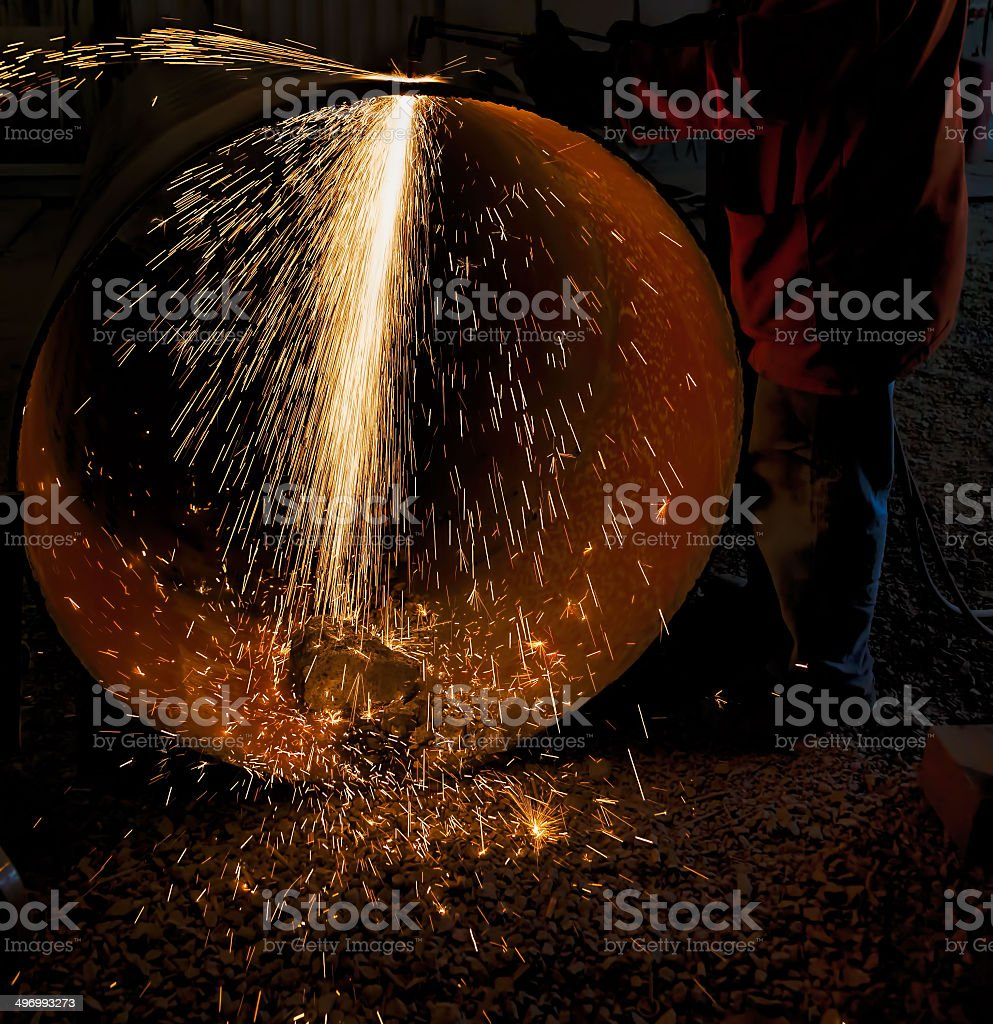 Big pipe cutting stock photo