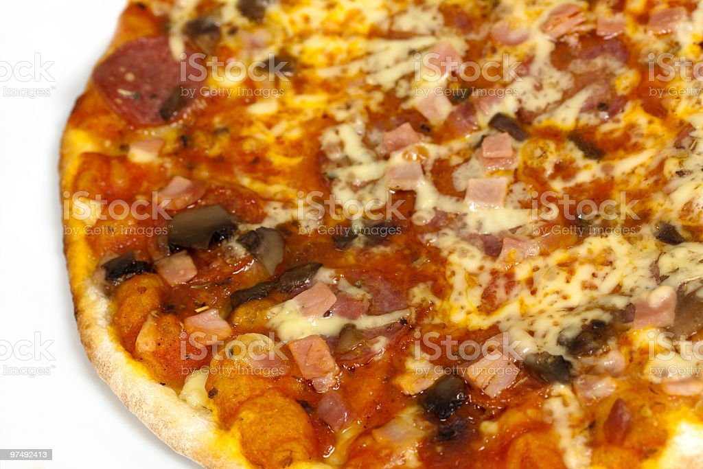 Big Pizza with Hamm,Mushrooms,Cheese royalty-free stock photo
