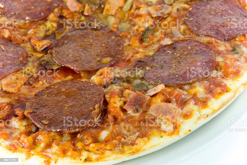 big pizza with sausage  and mixed vegetable royalty-free stock photo