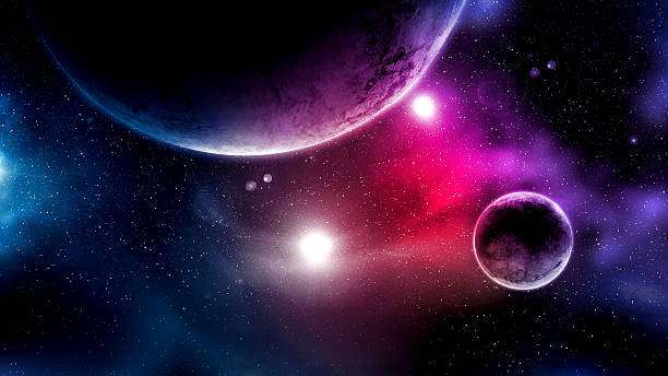 Big Planets and shining stars galaxy in space Digital Generated Image planet space stock pictures, royalty-free photos & images