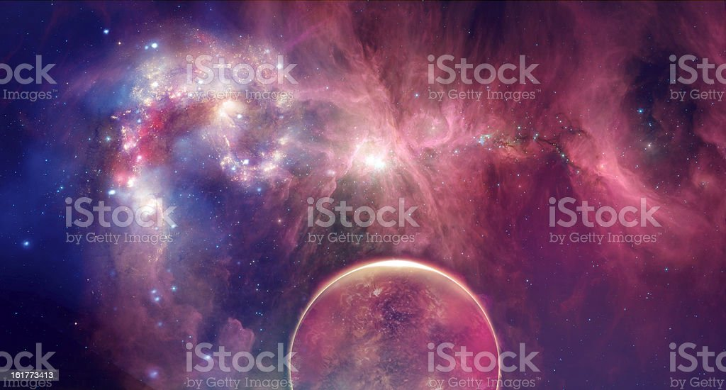Big planets and stars in space royalty-free stock photo