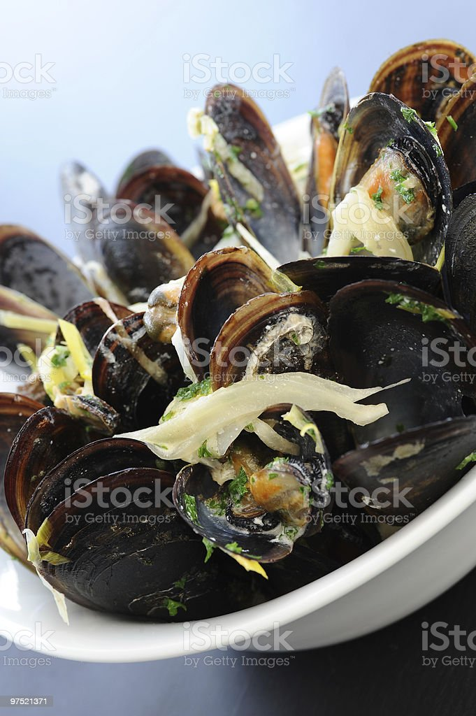 Big plate of steamed mussels royalty-free stock photo