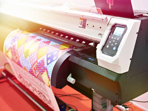 Big plotter printer with LED stock photo