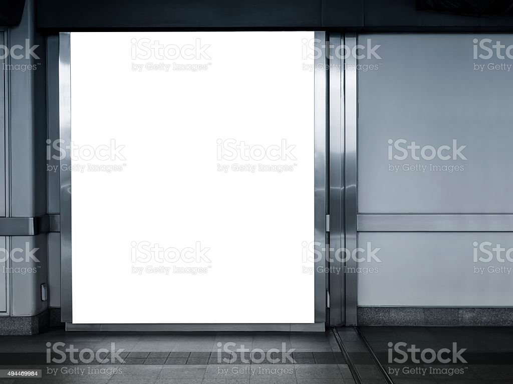 Big Poster Billboard Mock up Template in Subway Station stock photo