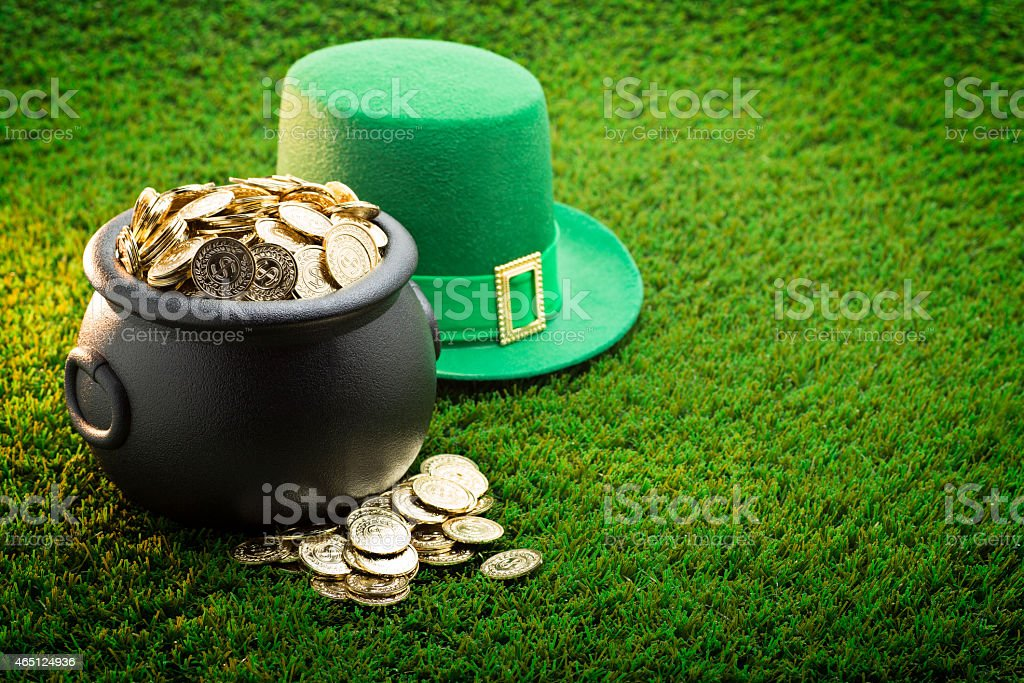 Big Pot of Gold and Hat on St. Patrick's Day stock photo